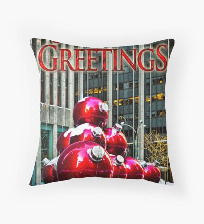 City Style Seasonal Greetings, a Holiday Card Throw Pillow