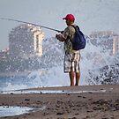 Sunday morning - fishing at the Pacific Ocean, Puerto Vallarta - Domingo en la mañana - pescando en el Oceano Pacifico, Puerto Vallarta by Bernhard Matejka