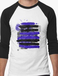 Black and Blue Stripes by RegiaArt. Men's Baseball ¾ T-Shirt