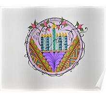 Hanukkah Menorah/3 - Feathers/3 Poster