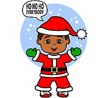 Cute Cartoon Boy Dressed Like Santa Photographic Print