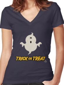 Scary Ghost Trick or Treat Women's Fitted V-Neck T-Shirt