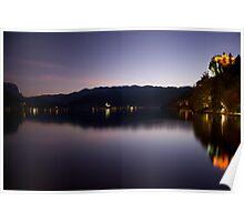 Bled lake at dusk Poster