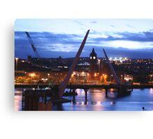 Peace Bridge under construction, Derry Canvas Print