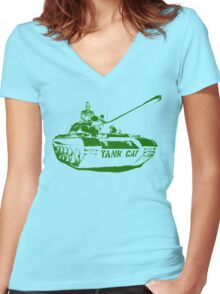 TANK CAT! Women's Fitted V-Neck T-Shirt