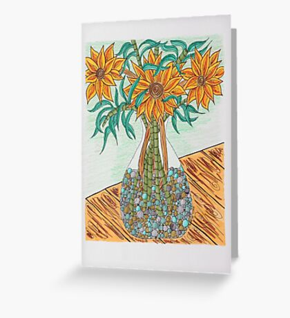 Flowers/22 - Clear Vase with Pebbles/2 Greeting Card