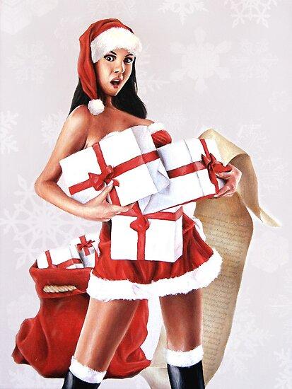 Santa's Little Helper? December / Christmas Pin-Up Girl Painting by Brent Schreiber