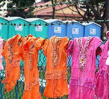 Singapore - Improvised clothesline by Maureen Keogh