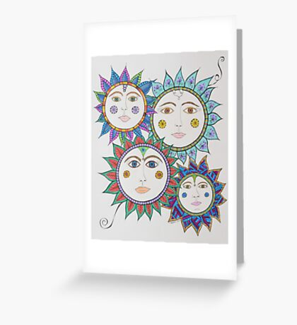 Sun Faces/4 - Four Greeting Card