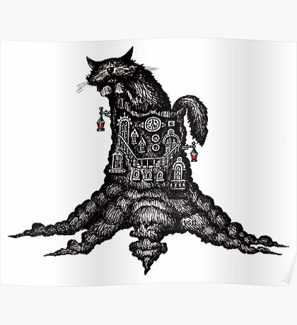 Cat on stump surreal black and white pen ink drawing Poster
