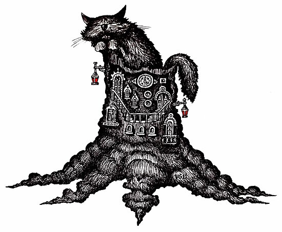 Cat on stump surreal black and white pen ink drawing by Vitaliy Gonikman