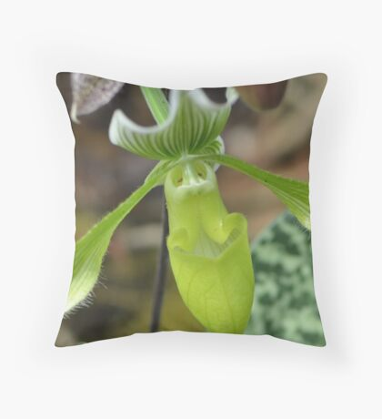 Lime Green Orchid Throw Pillow