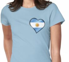Argentine Flag - Argentina - Heart Womens Fitted T-Shirt