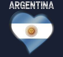 Argentina - Argentine Flag Heart & Text - Metallic Kids Tee
