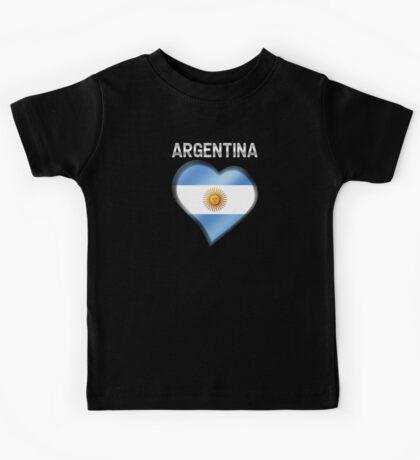 Argentina - Argentine Flag Heart & Text - Metallic Kids Tee