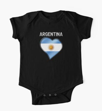 Argentina - Argentine Flag Heart & Text - Metallic One Piece - Short Sleeve
