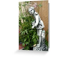 My garden girl wearing a willow hat. Greeting Card