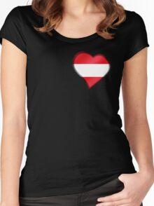 Austrian Flag - Austria - Heart Women's Fitted Scoop T-Shirt
