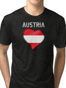 Austria - Austrian Flag Heart & Text - Metallic Tri-blend T-Shirt