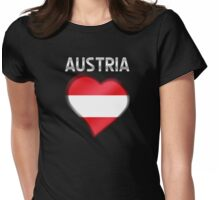 Austria - Austrian Flag Heart & Text - Metallic Womens Fitted T-Shirt