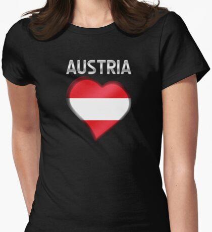 Austria - Austrian Flag Heart & Text - Metallic Womens Fitted T-Shirt