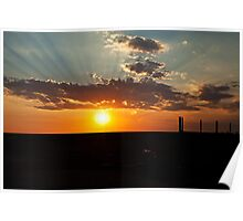 """Sunset at """"Spuds"""" roadhouse, Pimba, South Australia Poster"""