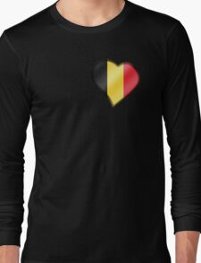 Belgian Flag - Belgium - Heart Long Sleeve T-Shirt