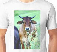 """""""Weary"""" the cow in the green and purple thistles Unisex T-Shirt"""
