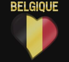 Belgique - Belgian Flag Heart & Text - Metallic One Piece - Long Sleeve