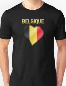 Belgique - Belgian Flag Heart & Text - Metallic Unisex T-Shirt