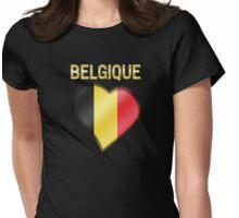 Belgique - Belgian Flag Heart & Text - Metallic Womens Fitted T-Shirt