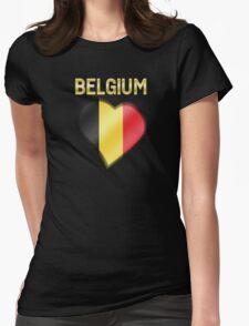 Belgium - Belgian Flag Heart & Text - Metallic T-Shirt