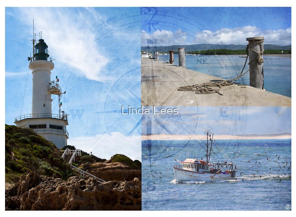 Beach Triptych 2 by Linda Lees
