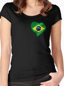 Brazilian Flag - Brazil - Heart Women's Fitted Scoop T-Shirt
