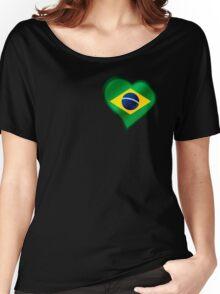 Brazilian Flag - Brazil - Heart Women's Relaxed Fit T-Shirt