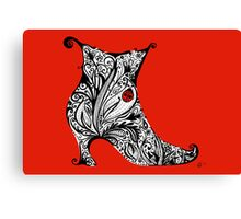Vintage Boot Doodle Red Canvas Print