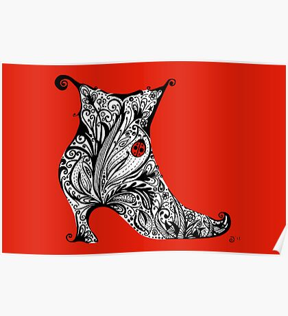 Vintage Boot Doodle Red Poster