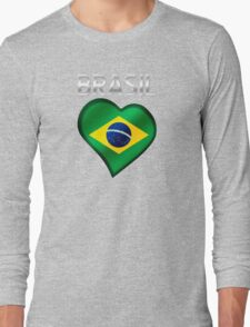 Brasil - Brazilian Flag Heart & Text - Metallic Long Sleeve T-Shirt