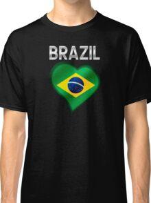 Brazil - Brazilian Flag Heart & Text - Metallic Classic T-Shirt