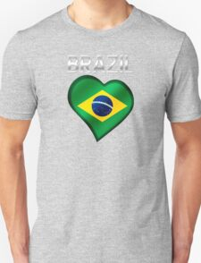 Brazil - Brazilian Flag Heart & Text - Metallic Unisex T-Shirt
