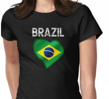 Brazil - Brazilian Flag Heart & Text - Metallic Womens Fitted T-Shirt