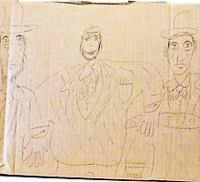 fAT mAN iN tHE mIDDLE (DRAWING ON cARDBOARD) by Stacey Lazarus