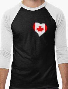 Canadian Flag - Canada - Heart Men's Baseball ¾ T-Shirt