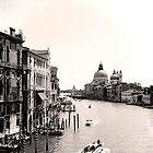The Grand Canal, Venice, in black and white by Elana Bailey