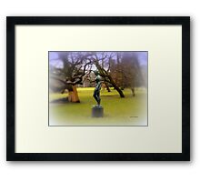 Statue by the Lake Framed Print