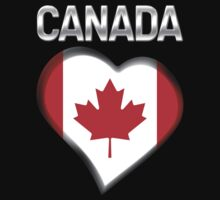 Canada - Canadian Flag Heart & Text - Metallic One Piece - Short Sleeve