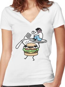 Dinner Is Served! Women's Fitted V-Neck T-Shirt