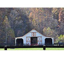 White Barn in Autumn Photographic Print