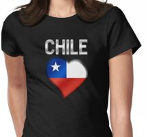 Chile - Chilean Flag Heart & Text - Metallic Womens Fitted T-Shirt