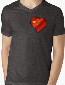 Chinese Flag - China - Heart Mens V-Neck T-Shirt